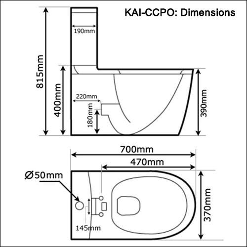 Kai Ccp0 White Close Coupled Toilet