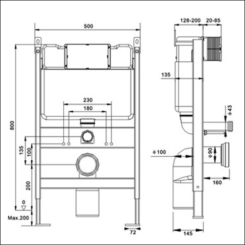 Kai Whf001 Concealed Frame And Dual Flush Cistern