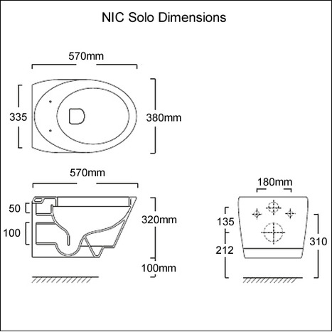 NIC Design Monolite Solo: Wall hung toilet bowl