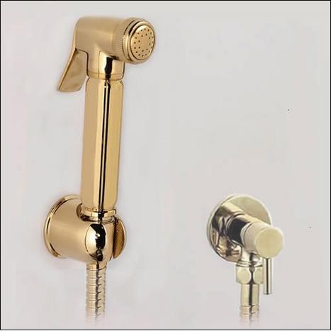 BRA3500: Gold Plated Italian Bidet Shower & Valve