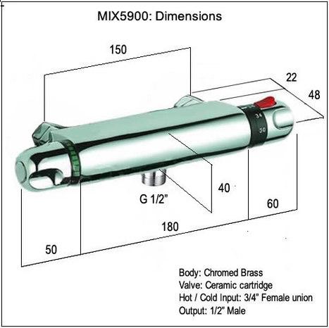 MIX5900: Thermostatic Bar Mixer Shower Valve