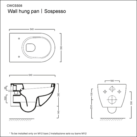 AS-SFE-550: Wall hung toilet bowl