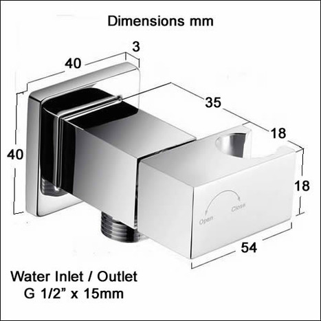 VAL2460:Square auto-promt water shut off valve with shower mount