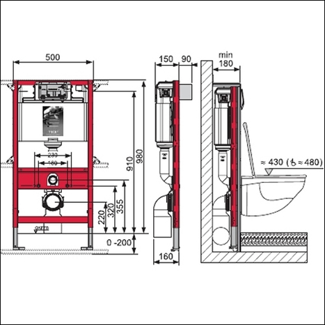 TECE In wall cistern / frame 980mm