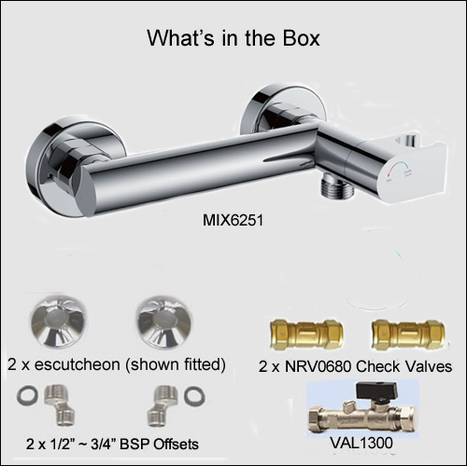 MIX6251: Single lever shower mixer with combined auto prompt safety water shut off valve