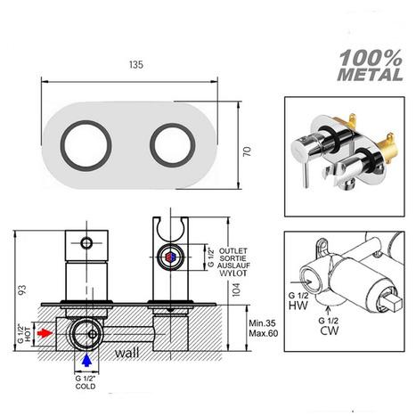 KIT6244: Hot and Cold Monobloc Bidet Shower Kit