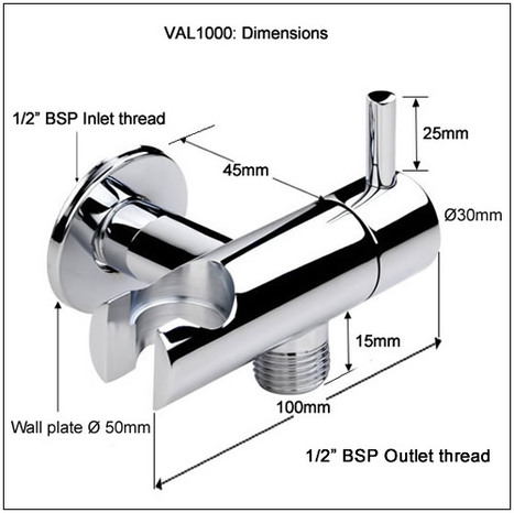 VAL1000: Shower Mount with Water shut off valve