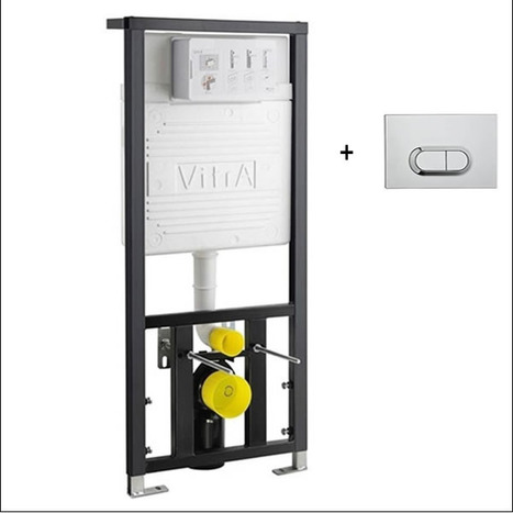 Vitra Concealed Cistern WC Frame for wall hung Toilets with OVAL style push button dual flush plate