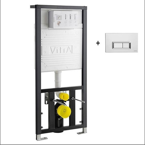 Vitra Concealed Cistern WC Frame for wall hung Toilets with OBLONG style push button dual flush plate