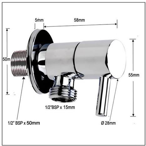 1/4 Turn Ceramic angle valve / Water Isolating Valve EXTRA LONG Inlet Thread