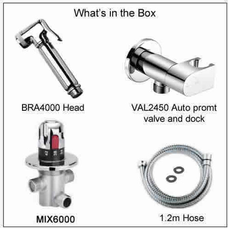 KIT6502: Thermostatically controlled bidet shower with auto prompt water shut off