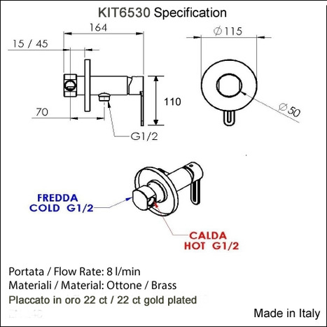KIT6530: Italian Warm Water Eco Bidet Shower Kit in 22ct Gold Plated Finish