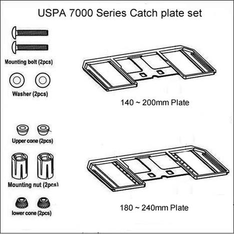 USPA 7000 SERIES FIXING CATCH PLATE SET