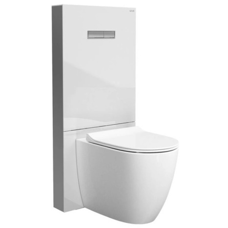 Vitra Vitrus Back To Wall Concealed Cistern - 3/6 Litre - White Tempered Glass