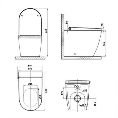 GMV-7035: Monolith Close Coupled Smart Japanese Shower Toilet