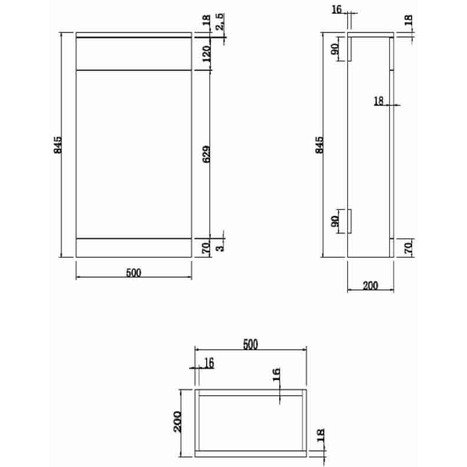 Cistern Cabinet: Back to Wall Toilet WCC-0816